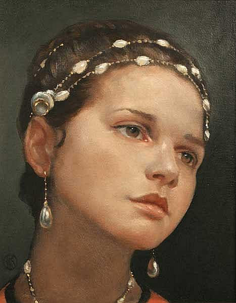 Ken Hamilton (b.1956) Girl with Beads oil on panel
