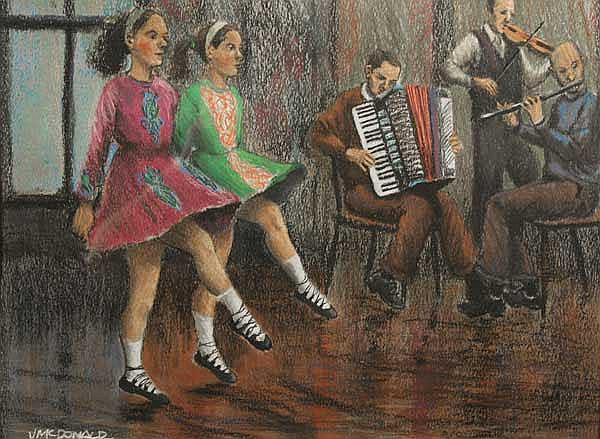 James McDonald (b.1939) The Irish Dancers pastel