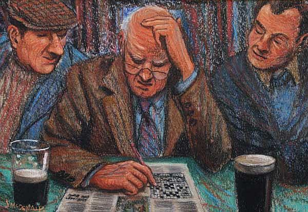James McDonald (b.1939) Puzzled pastel signed