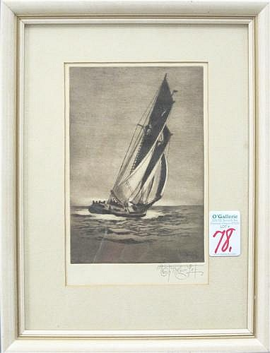 JOSEPH EDWARD KNOWLES ETCHING AND DRYPOINT (Santa