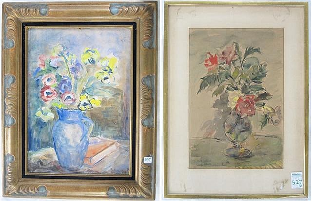 TWO FLORAL STILL LIFE WATERCOLORS: Nell Choate