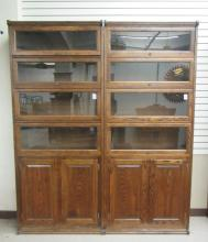 A PAIR OF 'STACKING' OAK BOOKCASES, American antiq