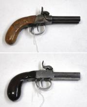 TWO ANTIQUE PERCUSSION POCKET PISTOLS, the first a
