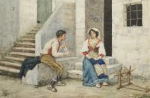 ACHILLE BUZZI (Italy, 19/20th century) watercolor