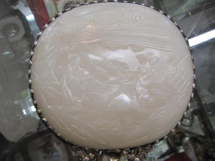 CHINESE SILVER AND CARVED JADE HAND MIRROR, a roun