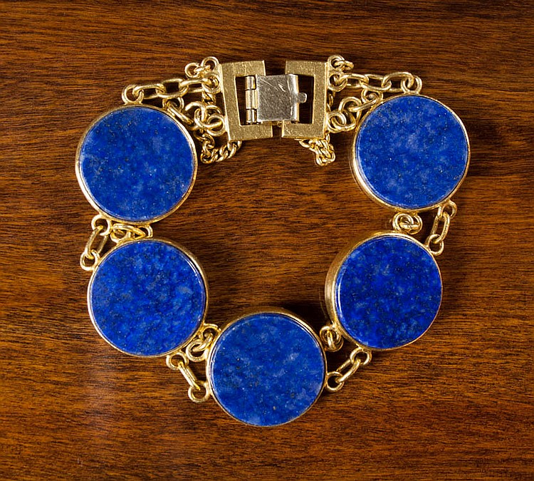 LAPIS LAZULI AND TWENTY-FOUR KARAT GOLD BRACELET.