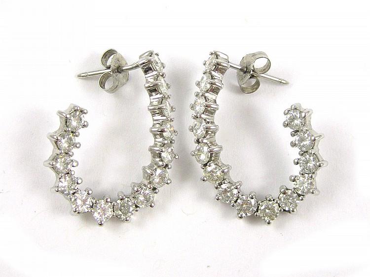 PAIR OF DIAMOND AND WHITE GOLD EARRINGS, each 14k