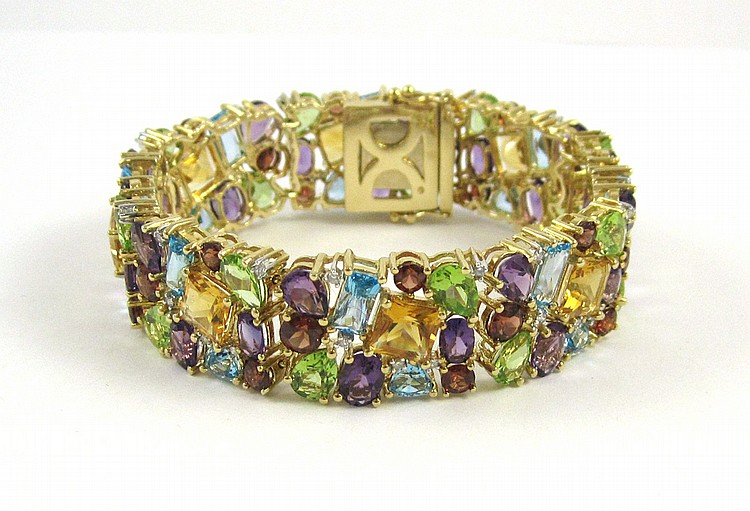 MULTI COLORED GEMSTONE AND DIAMOND BRACELET.  The