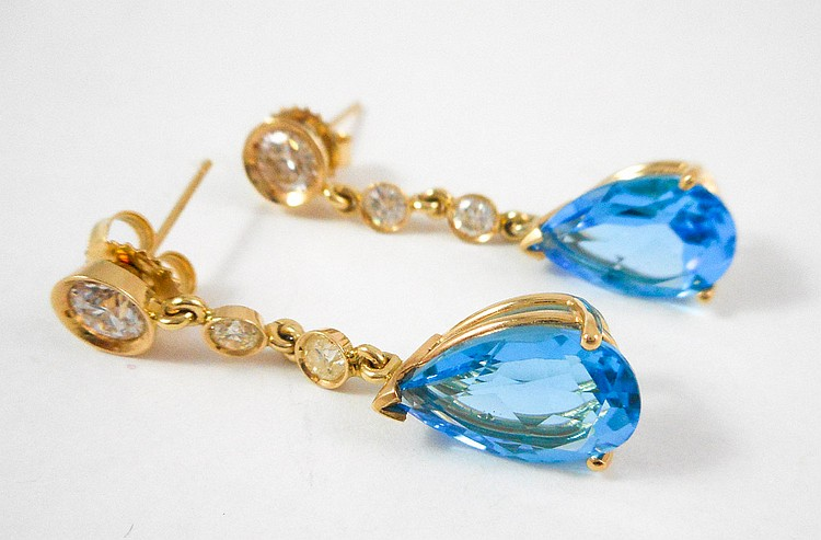 PAIR OF BLUE TOPAZ AND DIAMOND EARRINGS, each 14k