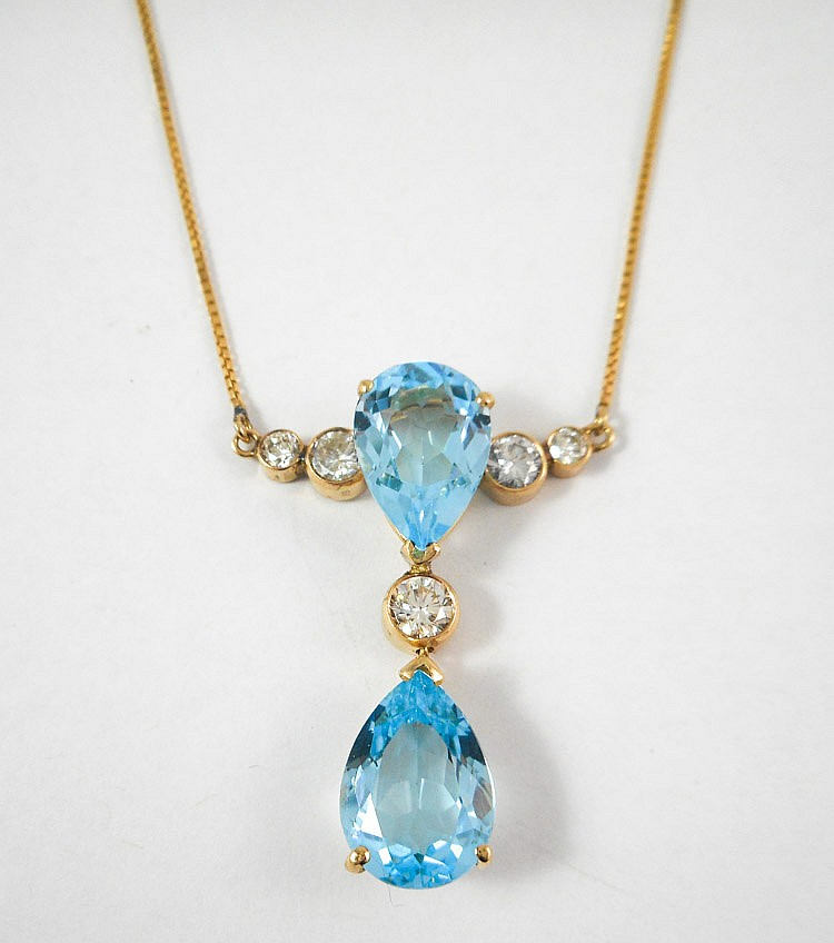 BLUE TOPAZ AND DIAMOND NECKLACE, measuring 21-1/2