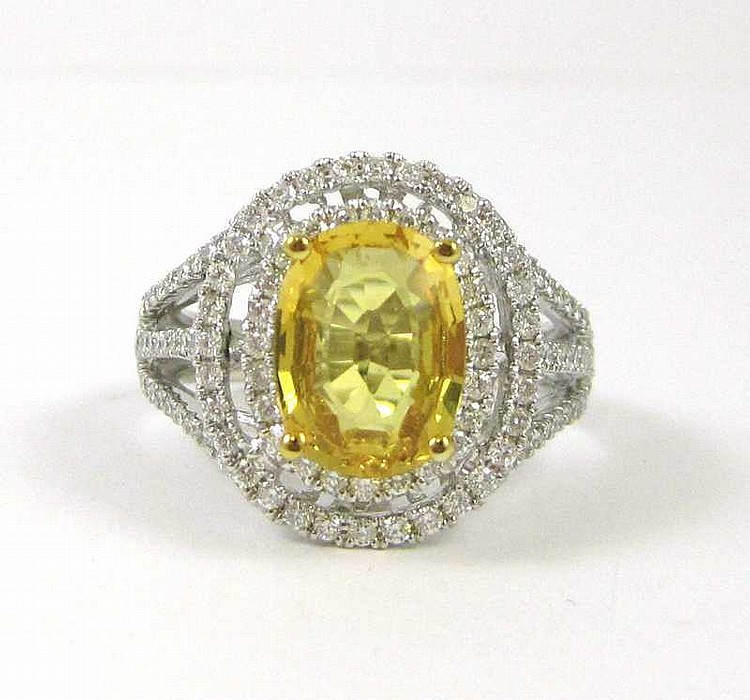YELLOW SAPPHIRE, DIAMOND AND FOURTEEN KARAT GOLD R