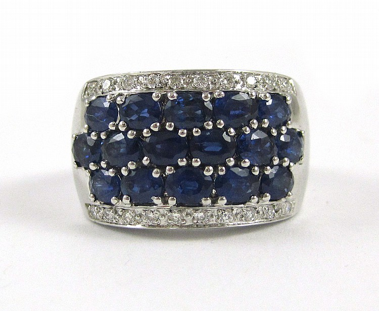 LAURA RAMSEY SAPPHIRE AND DIAMOND RING, 14k white