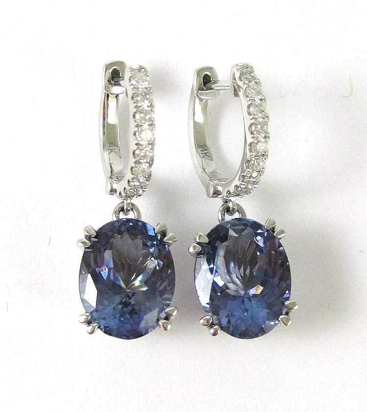PAIR OF TANZANITE AND DIAMOND EARRINGS, each 14k w