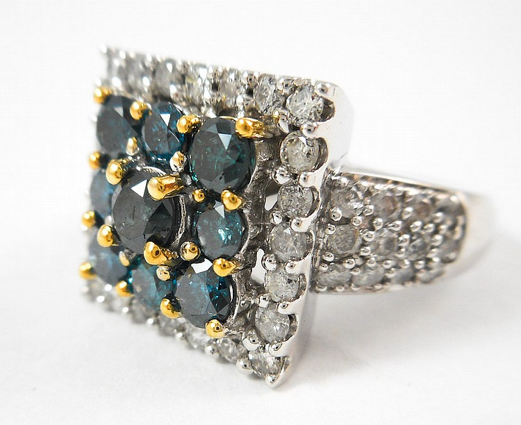 FANCY BLUE/GREEN DIAMOND AND WHITE GOLD RING.  The