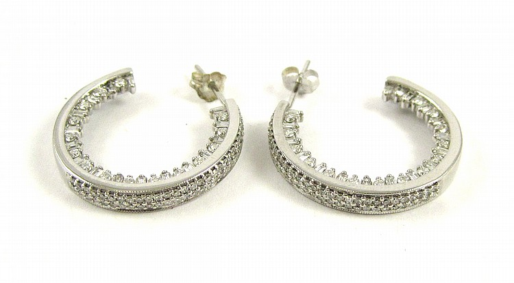 PAIR OF LAURA RAMSEY DIAMOND HOOP EARRINGS, each 1