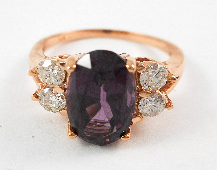 PURPLE SPINEL, DIAMOND AND FOURTEEN KARAT GOLD RIN