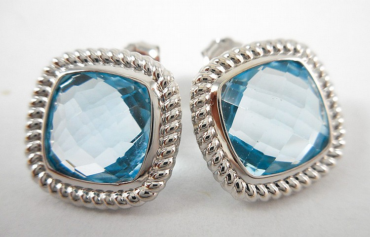 PAIR OF BLUE TOPAZ AND WHITE GOLD EARRINGS, each 1