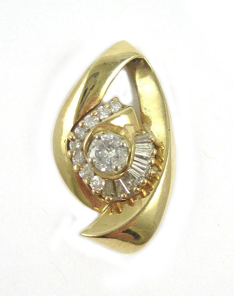 DIAMOND AND FOURTEEN KARAT GOLD PENDANT, with roun