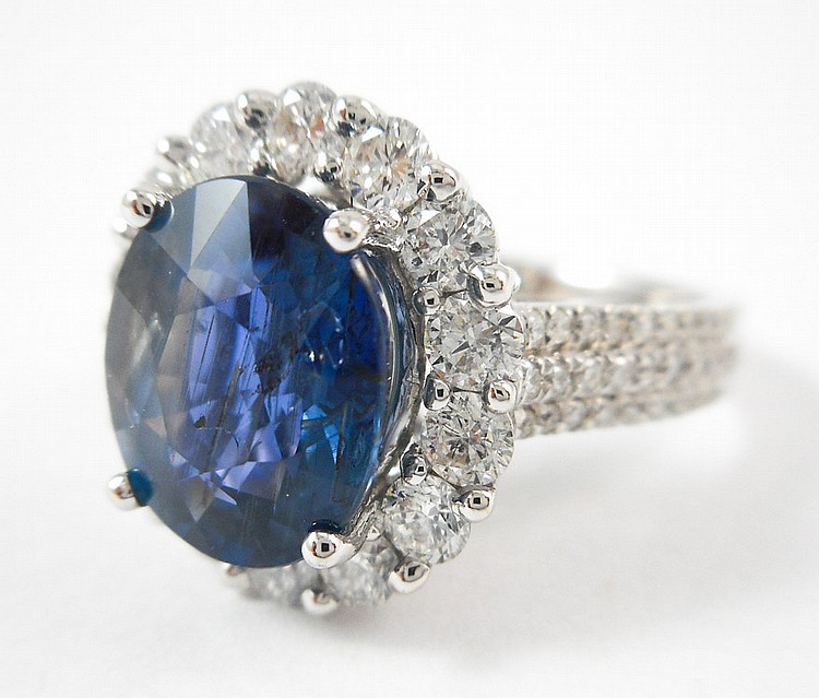 COLOR CHANGE SAPPHIRE AND DIAMOND RING, with AIGS