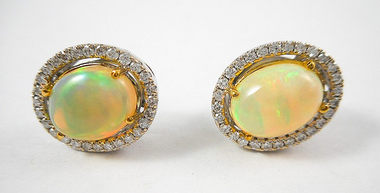 PAIR OF JELLY OPAL AND DIAMOND STUD EARRINGS, each