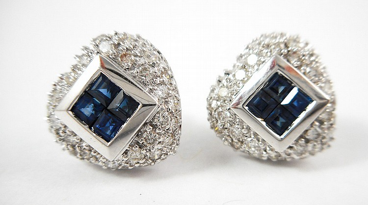 PAIR OF SAPPHIRE AND DIAMOND EARRINGS, each 14k wh