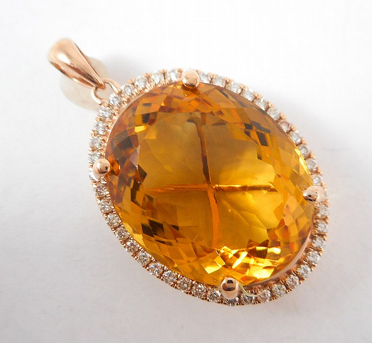 CITRINE, DIAMOND AND ROSE GOLD PENDANT.  The 14k r