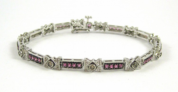 PINK SAPPHIRE AND CHAMPAGNE DIAMOND BRACELET.  The