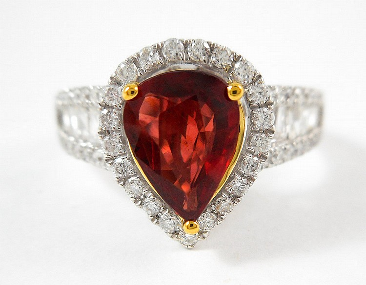 RUBY, DIAMOND AND FOURTEEN KARAT GOLD RING, with G