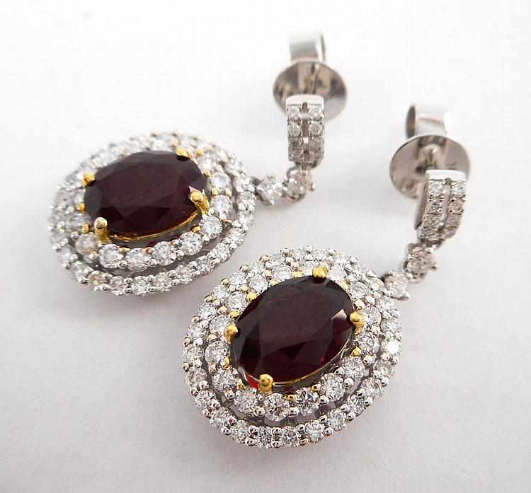 PAIR OF RUBY AND DIAMOND DANGLE EARRINGS, each 14k