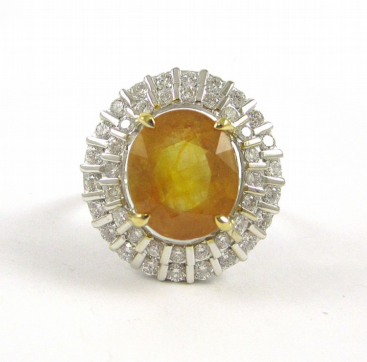 YELLOW SAPPHIRE AND DIAMOND RING, 14k white and ye