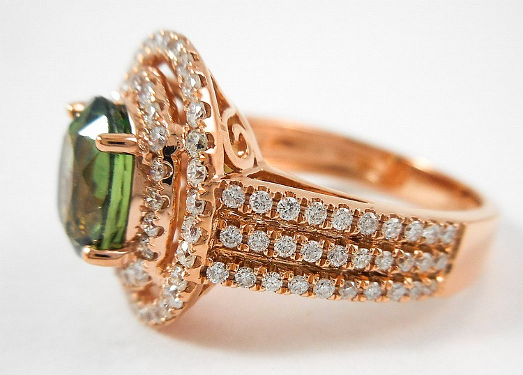 GREEN SAPPHIRE, DIAMOND AND ROSE GOLD RING.  The 1