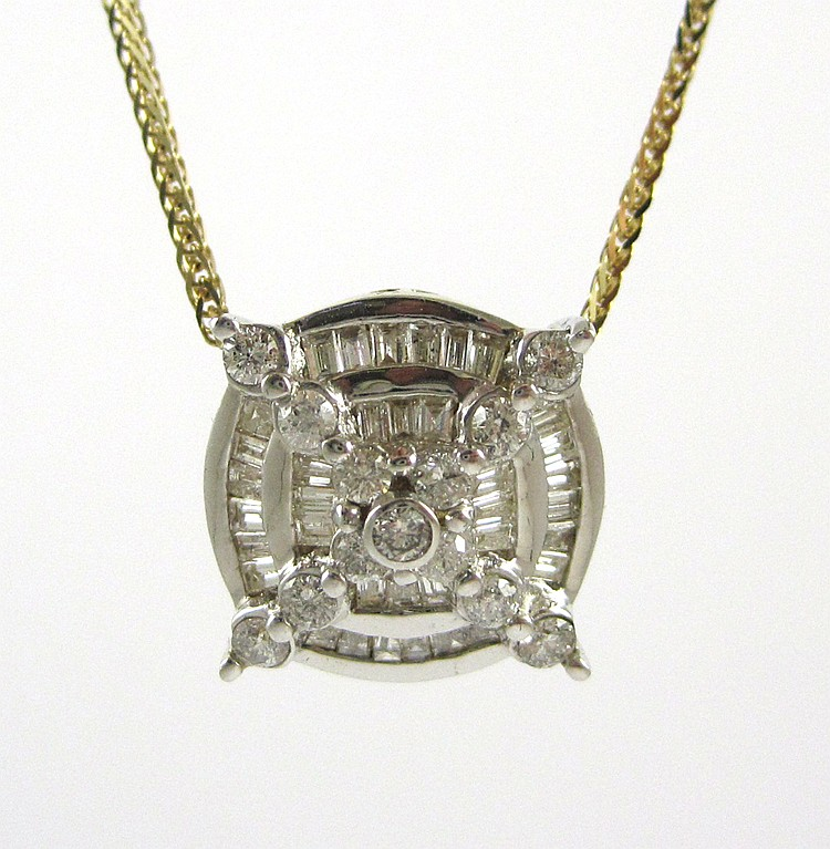YELLOW AND WHITE GOLD DIAMOND PENDANT NECKLACE, wi