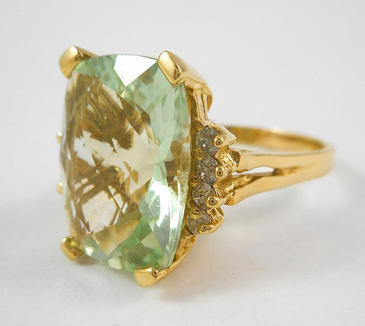 PRASIOLITE, DIAMOND AND FOURTEEN KARAT GOLD RING,