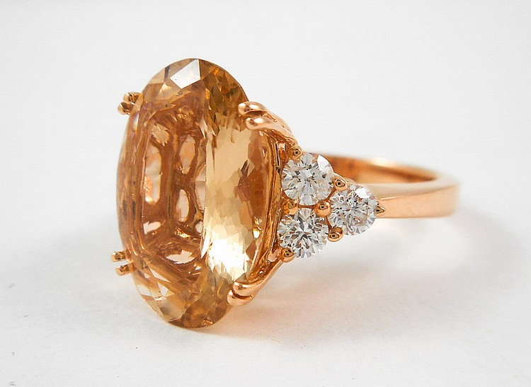 PEACH MORGANITE, DIAMOND AND ROSE GOLD RING.  The