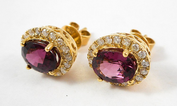 PAIR OF RHODOLITE AND DIAMOND STUD EARRINGS, each