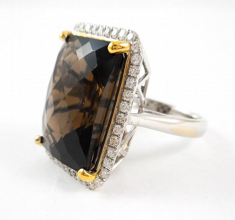 SMOKY QUARTZ, DIAMOND AND FOURTEEN KARAT GOLD RING