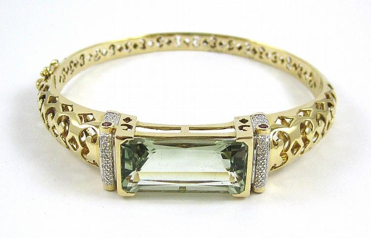 LAURA RAMSEY PRASIOLITE AND DIAMOND BANGLE, 14k ye