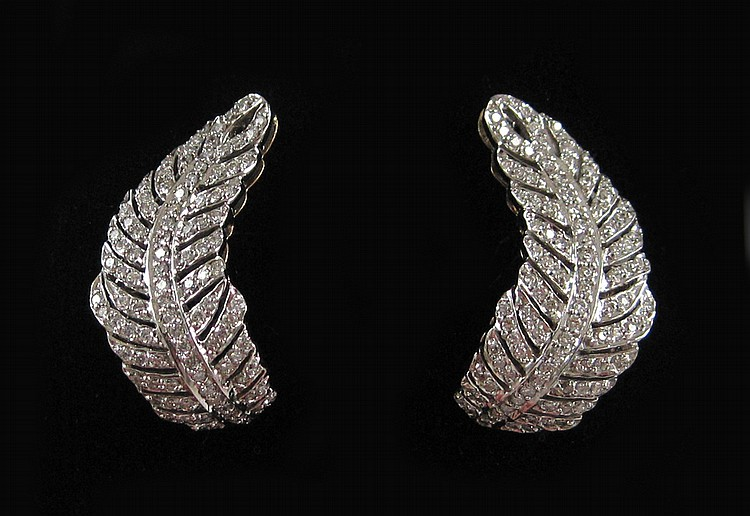 PAIR OF SONIA BITTON DIAMOND EARRINGS, each 14k ye