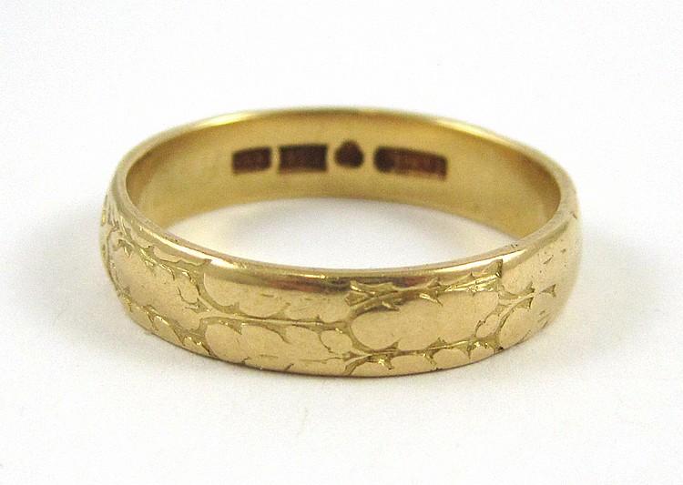 MAN'S EIGHTEEN KARAT GOLD BAND, Swedish made, size