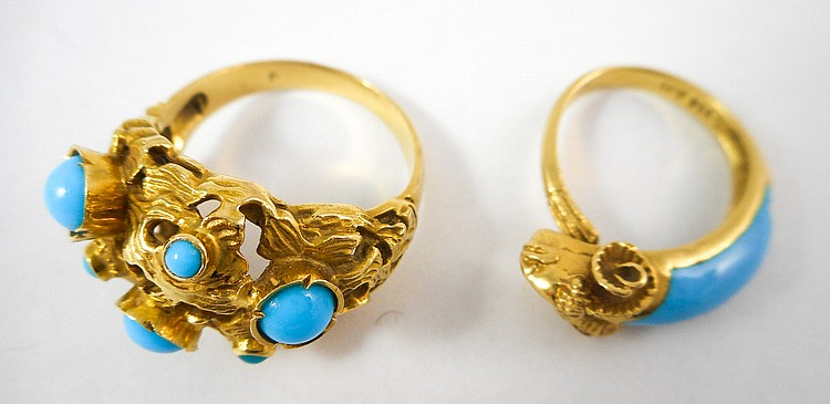 TWO TURQUOISE AND EIGHTEEN KARAT GOLD RINGS, inclu