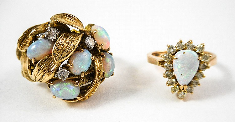 TWO OPAL, DIAMOND AND FOURTEEN KARAT GOLD RINGS, i