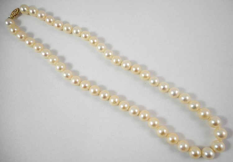 PRINCESS LENGTH WHITE PEARL NECKLACE, measuring 17