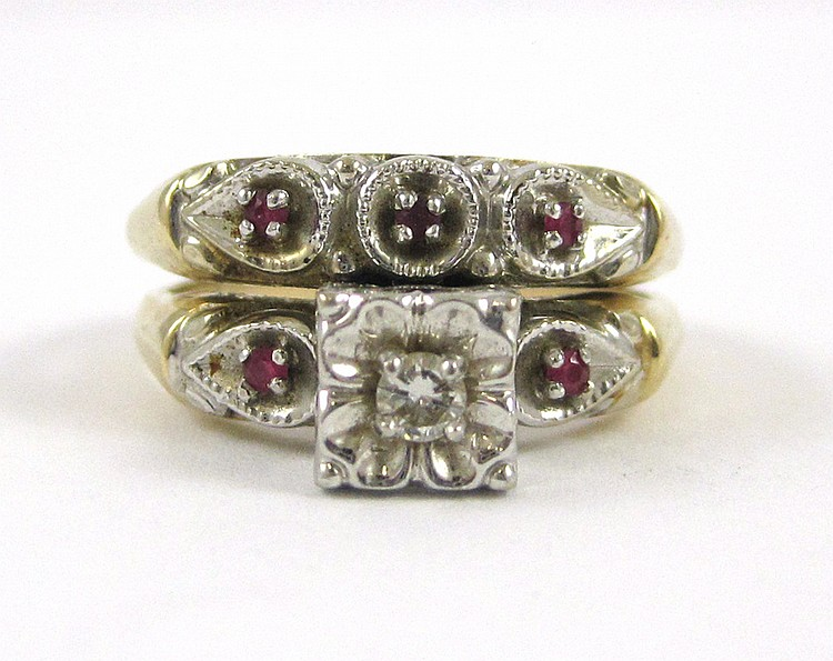 DIAMOND, RUBY AND FOURTEEN KARAT GOLD WEDDING SET.