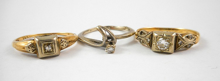 THREE DIAMOND AND FOURTEEN KARAT GOLD RINGS, inclu