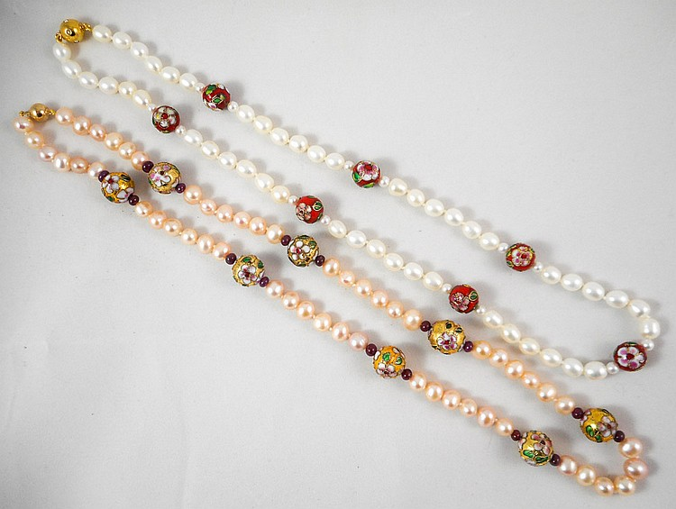 TWO PEARL AND CLOISONNE BEAD NECKLACES, including