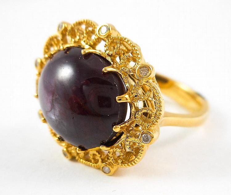 STAR RUBY, DIAMOND AND FOURTEEN KARAT GOLD RING, w