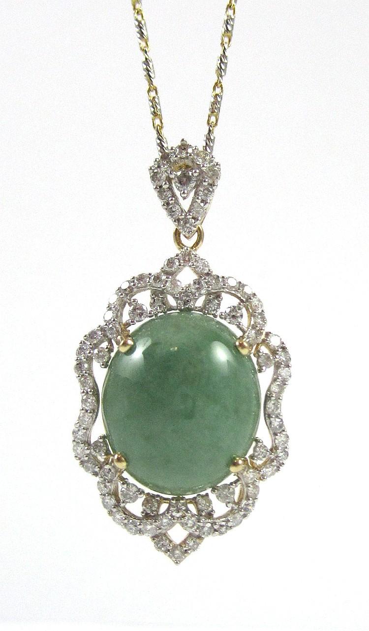 JADEITE JADE AND DIAMOND PENDANT NECKLACE, with an