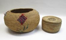 TWO NORTHWEST NATIVE AMERICAN BASKETS the first a