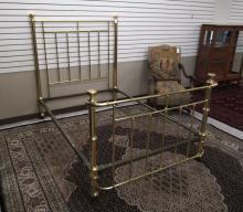 LATE VICTORIAN BRASS BED, American, c. 1900, of tu