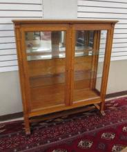 AN OAK AND GLASS CHINA DISPLAY CABINET, Allen & Pa